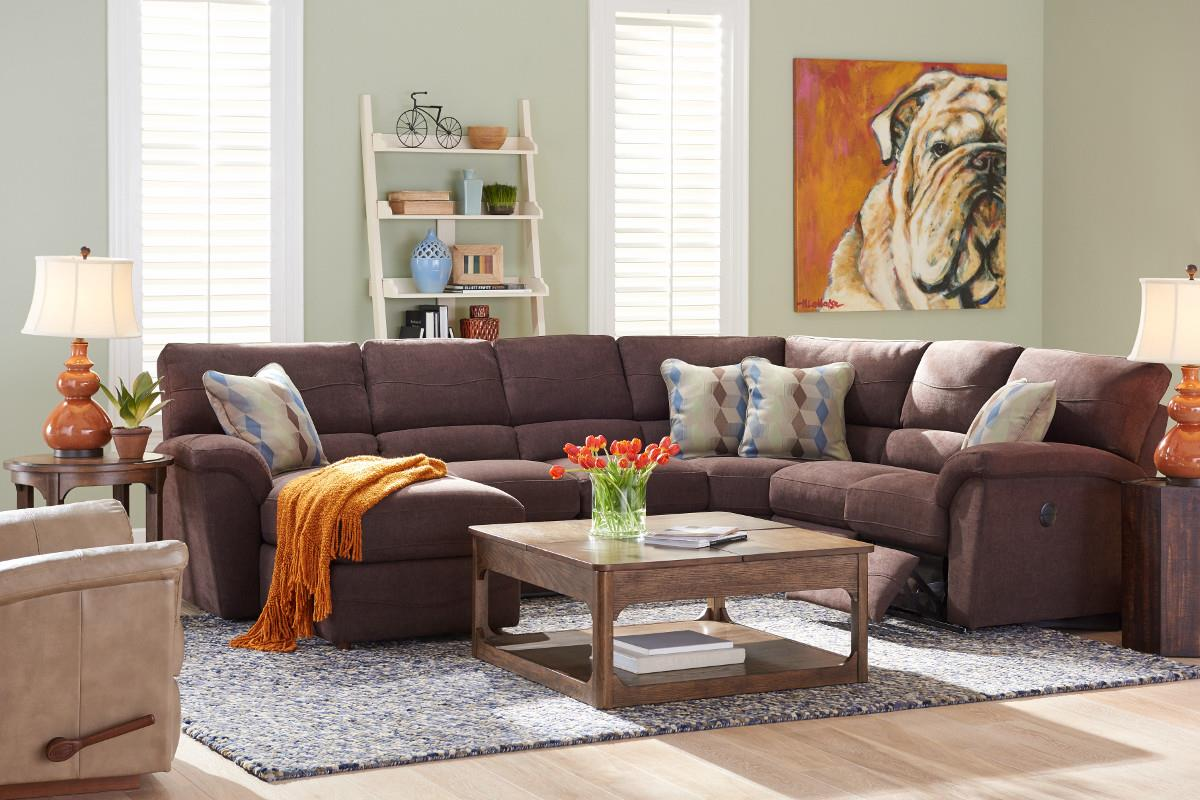 Reese 6 Pc Reclining Sectional Sofa w/ RAS Chaise by La-Z-Boy at Johnny Janosik