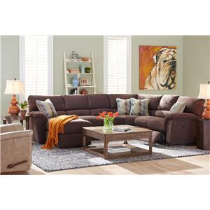 Six Piece Reclining Sectional Sofa w/ RAS Chaise