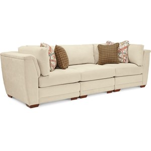 3 Piece Sectional Sofa with Tapered Block Feet