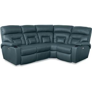 4 Pc Power Reclining Sectional Sofa with Lighting Cuphlders