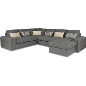 Five Piece Modern Sectional Sofa with Architectural Lines and RAF Chaise