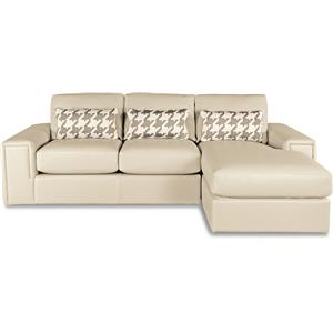 Two Piece Modern Sectional Sofa with Architectural Lines and RAF Chaise