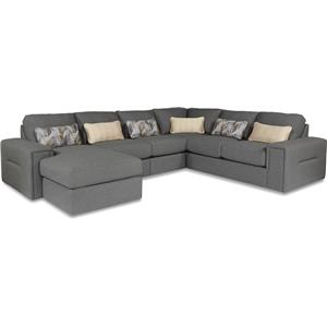 Five Piece Modern Sectional Sofa with Architectural Lines and LAF Chaise