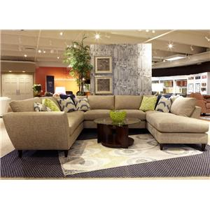 Contemporary Five Piece Sectional Sofa with LAS Chaise