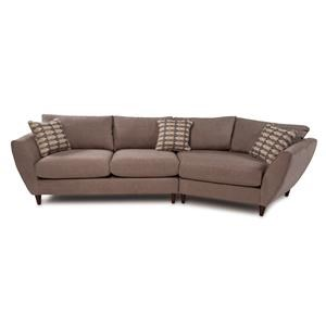 Contemporary 2-Piece Sectional w/ Cuddler