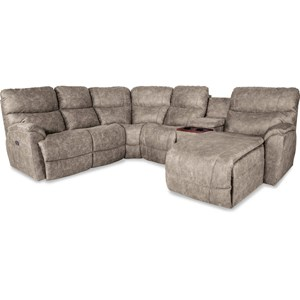 Five Piece Power Reclining Sofa with Left Sitting Tilt-Back Chaise and Cupholder Storage Console