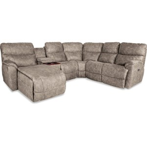 Five Piece Power Reclining Sofa with Right Sitting Tilt-Back Chaise and Cupholder Storage Console