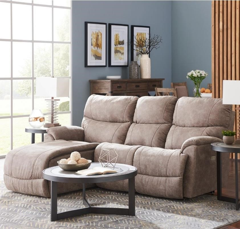 Trouper 2 Pc Pwr Reclining Sofa w/ RAS Chaise by La-Z-Boy at Sparks HomeStore