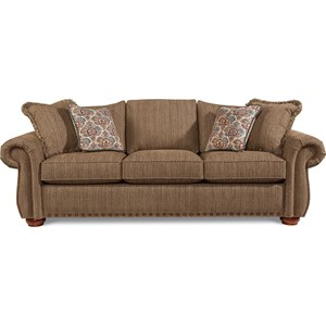 Traditional Sofa with Rolled Arms and Two Sizes of Nailheads