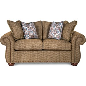 Traditional Loveseat with Rolled Arms and Two Sizes of Nailheads