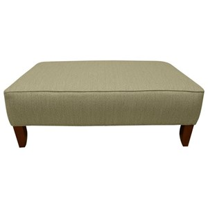 Upholstered Cocktail Ottoman with Tapered Legs