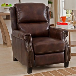 Traditional Push Back Recliner with Nailhead Trim