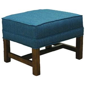 Lancer 1414 Ottoman with Oak Chippendale Base
