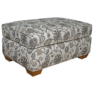 Ottoman with Tapered Wood Feet