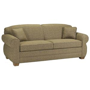Stationary Sofa with Rolled Arms and Tapered Wood Feet