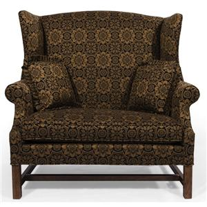 Wing Back Chair and a Half with Rolled Arms