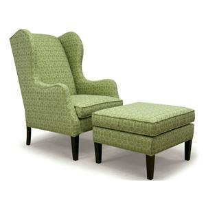 Contemporary Wing High Back Chair & Ottoman with Cherry Finish