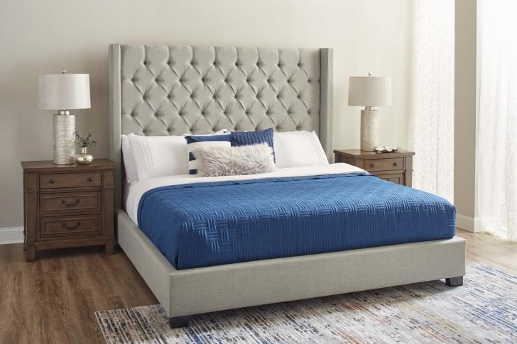 11053 Queen Upholstered Grey Bed by Lane at Furniture Fair - North Carolina