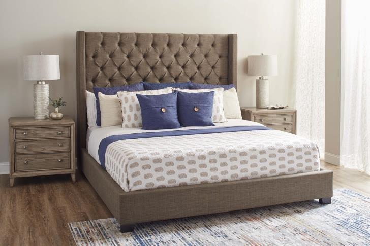 11053 King Upholstered Brown Bed by Lane at Furniture Fair - North Carolina