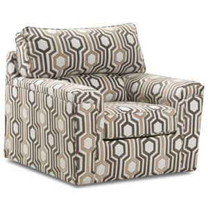 Accent Swivel Chair in Contemporary Geometric Fabric