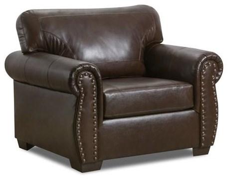 2075 Leather Nail Head Chair by Lane at Furniture Fair - North Carolina