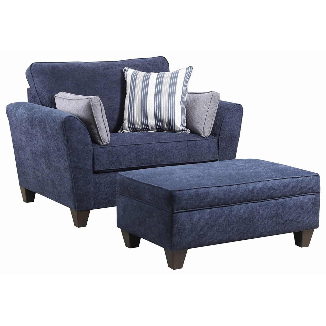 7081 Chair and a Half and Ottoman Set  by Lane at Powell's Furniture and Mattress