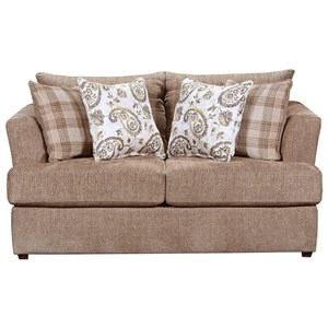 Stationary Loveseat with Tall Flared Arms and Farmhouse Accent Pillows