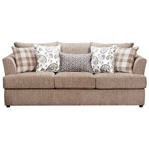 Stationary Sofa with Tall Flared Arms and Farmhouse Accent Pillows