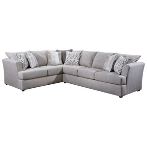 Contemporary L-Shape Sectional with Tall Flared Arms
