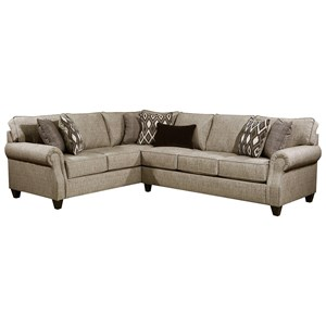Casual 2-Piece Sectional with Rolled Arms