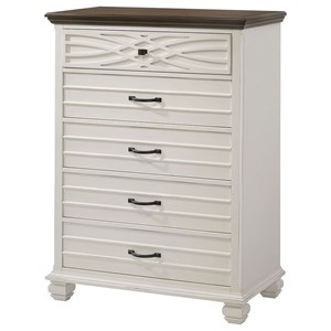 Rustic Casual Chest of Drawers with Two-Tone Finish