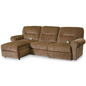 Casual 3 Piece Reclining Sectional with Power Chaise