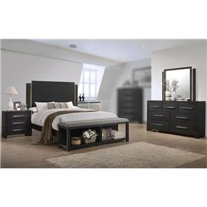 4PC Queen Bedroom Set w/ Footboard Bench