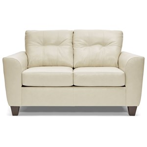 Transitional Loveseat with Blind Tufting