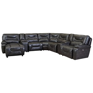 Power Reclining Leather Sectional with LAF Power Chaise