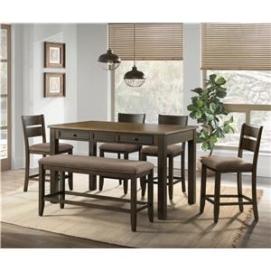 Sarasota Counter Height Table, Bench and 4 Stools