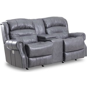 Reclining Rocker Console Loveseat with Nail Head Trim