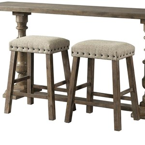 Rustic Set of 2 Backless Bar Stools with Nailhead Trim