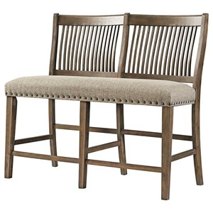 Rustic Counter Height Dining Bench with Upholstered Seat