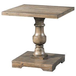 Rustic End Table with Turned Pedestal