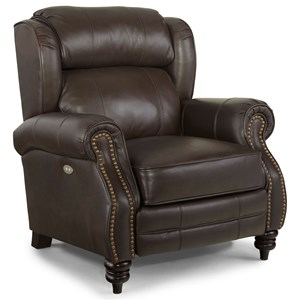 High-Leg Power Recliner with Rolled Arms