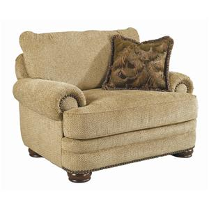 Large Stationary Chair with Complimentary Nailhead Trim and Wooden Legs