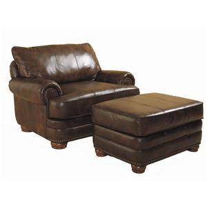Chair and Ottoman Set with Nail Head Trim and Wood Accent Legs