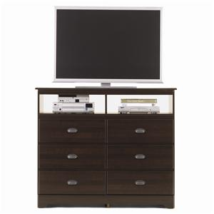 Lang Bayfield 6 Drawer Media Dresser with Roller Glides