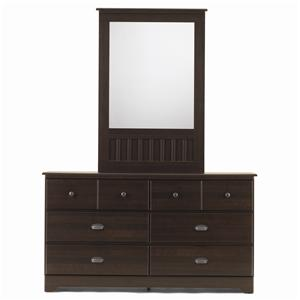 Lang Bayfield 6 Drawer Dresser & Framed Mirror