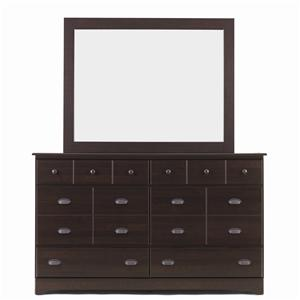 6 Drawer Dresser & Framed Mirror Combo