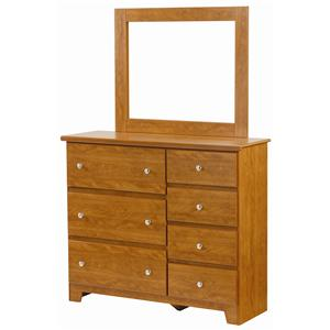 Lang Columbia 7 Drawer Dresser with Mirror Combination