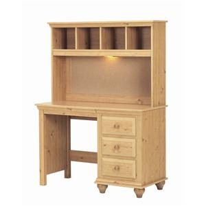 Lang Madison 4 Drawer Desk and Hutch with Light