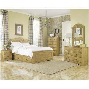 Lang Oak Creek King Panel Bed with Storage Tray Bedroom Gro