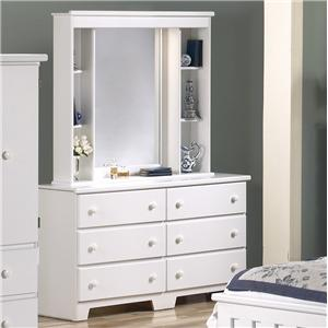 Lang Shaker 57 Inch 6 Drawer Dresser and Mirror Hutch